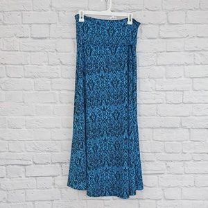 LulaRoe | Blue & Black Patterned Maxi Skirt